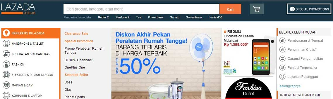 official website of Lazada Indonesia